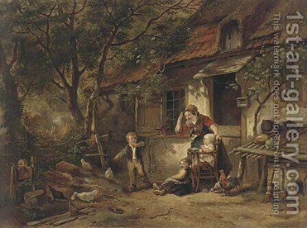 The farmyard thief 2 by Herman Frederik Carel ten Kate - Reproduction Oil Painting