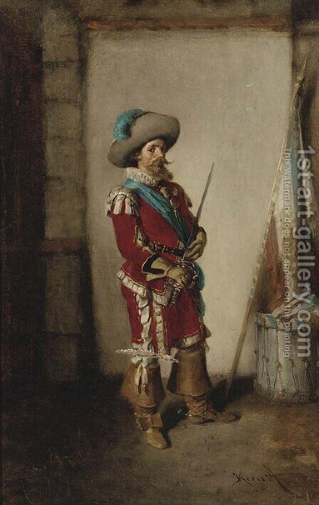 A swordsman ready for battle by Hermann Kern - Reproduction Oil Painting
