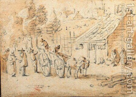 A horse-drawn cart with figures by a village by Herman Saftleven - Reproduction Oil Painting