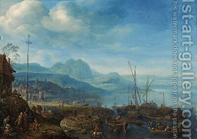 A view of Linz am Rhein, with barges unloading at a quay, an inn nearby by Herman Saftleven - Reproduction Oil Painting