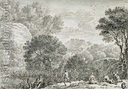 A rocky wooded landscape with satyrs by Herman Van Swanevelt - Reproduction Oil Painting