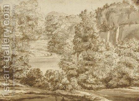 An extensive wooded river landscape by Herman Van Swanevelt - Reproduction Oil Painting
