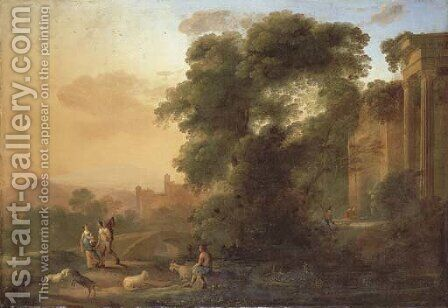 An Italianate landscape with a couple on a path by a river, a shepherd resting with his flock and men collecting water by classical ruins by Herman Van Swanevelt - Reproduction Oil Painting