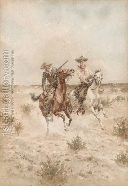 Two Cowboys on Horseback by Herman Wendleborg Hansen - Reproduction Oil Painting