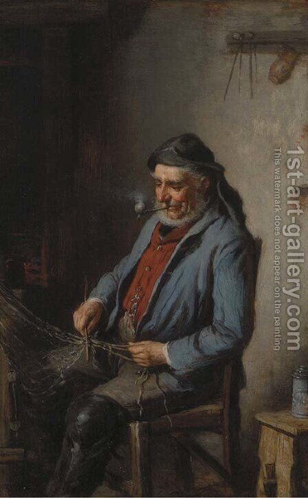 Mending the net by Hermann Kern - Reproduction Oil Painting