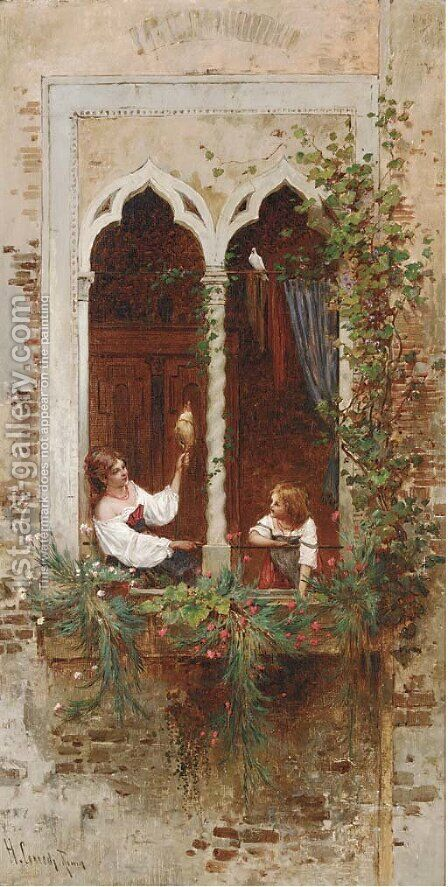 On a Venetian balcony by Hermann David Salomon Corrodi - Reproduction Oil Painting