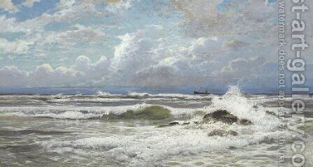 Stormy Seas by Hermann David Salomon Corrodi - Reproduction Oil Painting