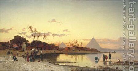 Sunset on the Nile, Cairo by Hermann David Salomon Corrodi - Reproduction Oil Painting