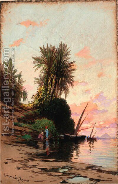 Sunset on the river Nile by Hermann David Salomon Corrodi - Reproduction Oil Painting