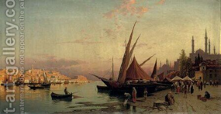 The Bosphorus, Constantinople by Hermann David Salomon Corrodi - Reproduction Oil Painting