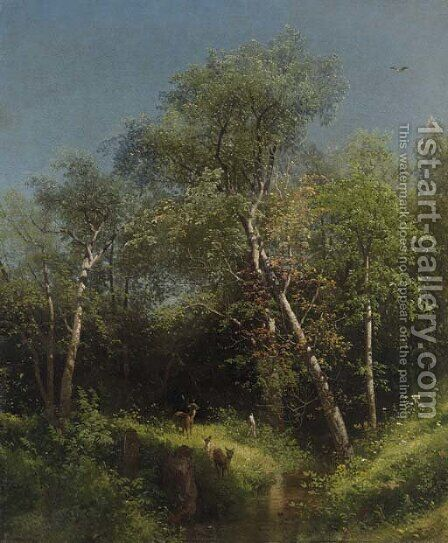 Deer in the Wild Woods by Herman Herzog - Reproduction Oil Painting