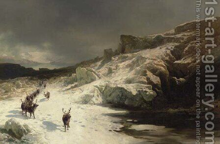 Elk in a Snowy Landscape by Herman Herzog - Reproduction Oil Painting