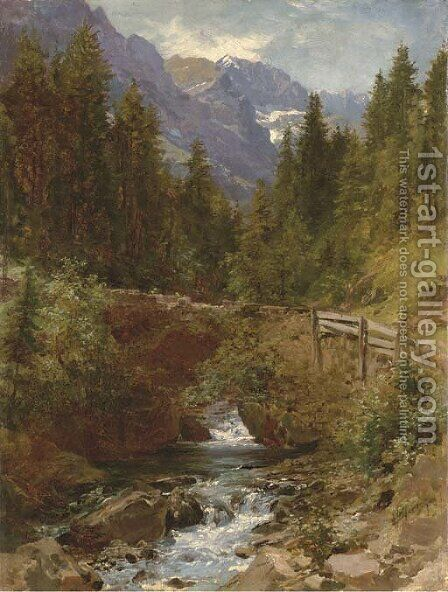 Forest Brook 2 by Herman Herzog - Reproduction Oil Painting