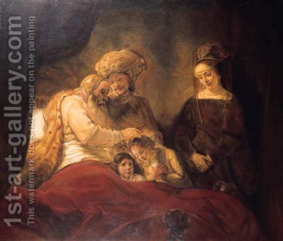 Jacob blessing the sons of Joseph by Hermann Hirsch - Reproduction Oil Painting