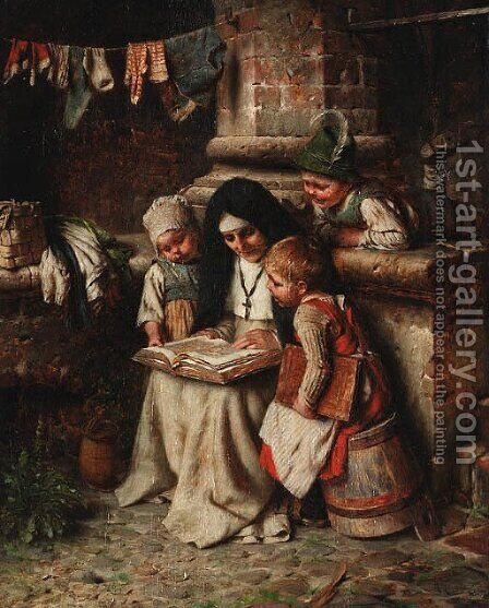 Story time by Hermann Kaulbach - Reproduction Oil Painting