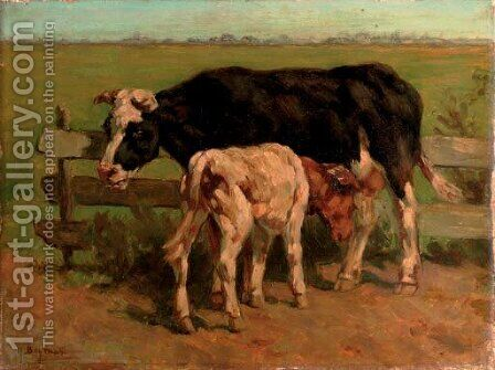 The young calf by Hermanus Charles Christiaan Bogman - Reproduction Oil Painting