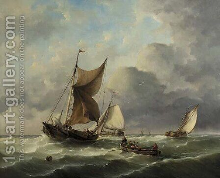 Sailingbarges setting out for sea by Hermanus Koekkoek - Reproduction Oil Painting