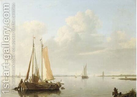 A calm fishing vessels at anchor in a river estuary by Hermanus Koekkoek - Reproduction Oil Painting