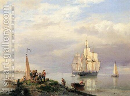 A calm - a river estuary with twomasters at anchor, fisherman on a jetty in the foreground by Hermanus Koekkoek - Reproduction Oil Painting