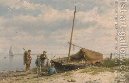 Fishermen along a shoreline by Hermanus Koekkoek - Reproduction Oil Painting