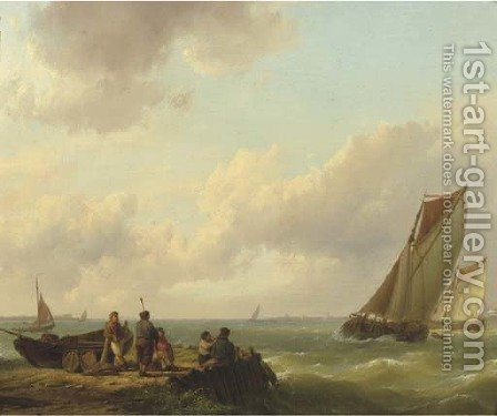 Fishermen on a jetty with sailingvessels approaching by Hermanus Koekkoek - Reproduction Oil Painting