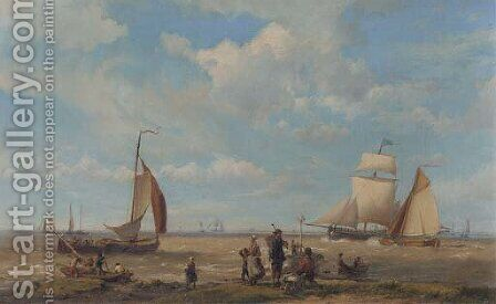 Shipping in a breeze with figures in the foreground by Hermanus Koekkoek - Reproduction Oil Painting