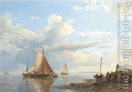 Shipping in a calm by Hermanus Koekkoek - Reproduction Oil Painting