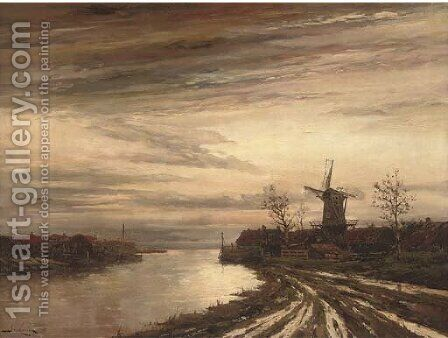 A Dutch canal town at dusk by Hermanus Jr. Koekkoek - Reproduction Oil Painting