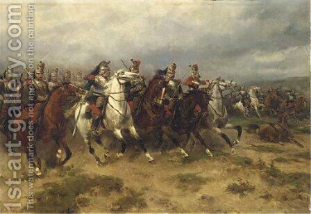 A courageous incursion French Cuirassiers charging by Hermanus Willem Koekkoek - Reproduction Oil Painting