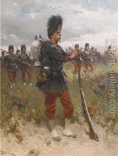 French Artillery by Hermanus Willem Koekkoek - Reproduction Oil Painting
