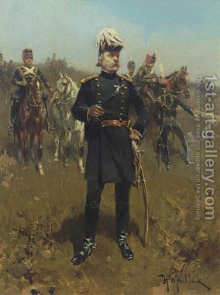 Troop of horse artillery Gele Rijders by Hermanus Willem Koekkoek - Reproduction Oil Painting