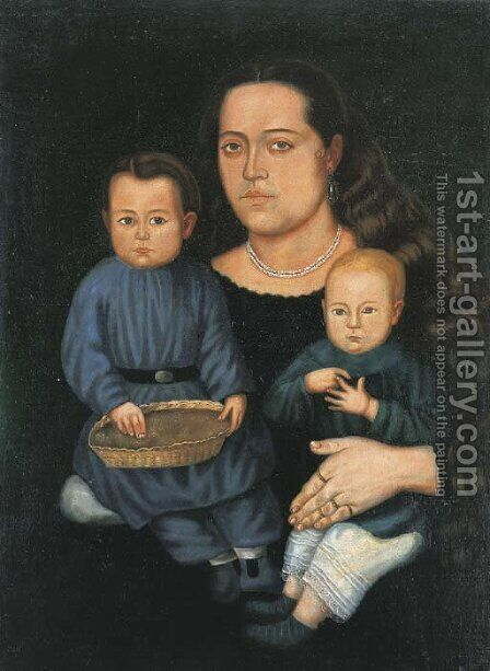 Sra. Da. Francisca Valdivia de Chavez e hijos by Hermenegildo Bustos - Reproduction Oil Painting