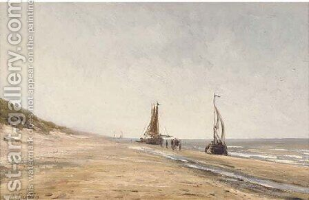 Fishing boats at low tide by Herminie Gudin - Reproduction Oil Painting
