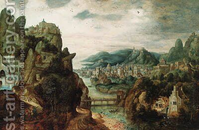 A panoramic mountain landscape, with an extensive town by a river, Christ with Cleopas and Peter on the Way to Emmaus in the foreground, and the subse by Herri met de Bles - Reproduction Oil Painting