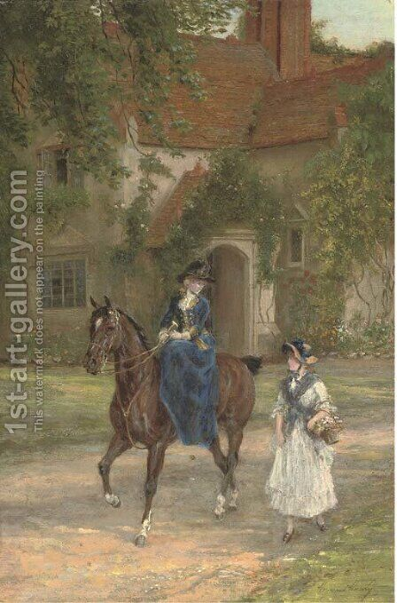 A mistress with her maid by Heywood Hardy - Reproduction Oil Painting