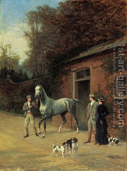 Admiring the new acquisition by Heywood Hardy - Reproduction Oil Painting