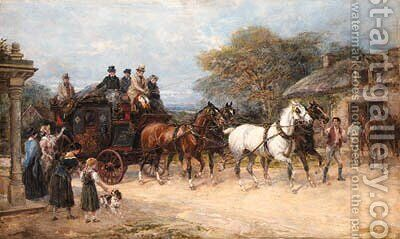 The Bath to London Coach by Heywood Hardy - Reproduction Oil Painting