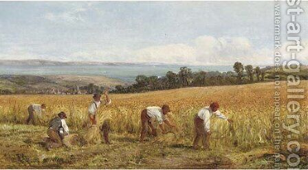 A golden harvest by Heywood Hardy - Reproduction Oil Painting