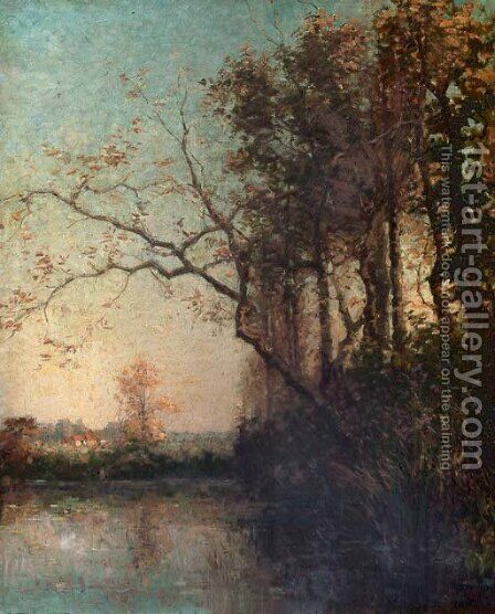 Etang a Tervueren by the lake by Hippolyte Boulenger - Reproduction Oil Painting