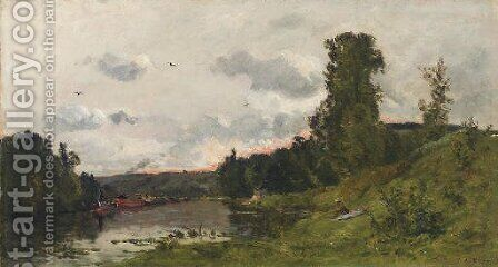 Bord de la Seine by Hippolyte Camille Delpy - Reproduction Oil Painting