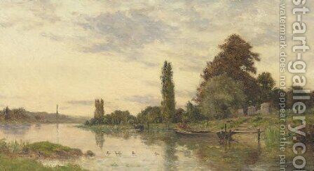 Lavandieres pres du fleuve by Hippolyte Camille Delpy - Reproduction Oil Painting