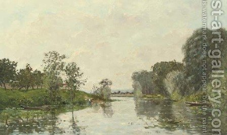 A River Landscape, Summer by Hippolyte Camille Delpy - Reproduction Oil Painting