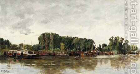 Barges a Rangiport sur Seine by Hippolyte Camille Delpy - Reproduction Oil Painting
