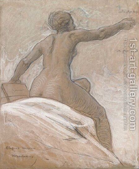 Study of a female nude, seated on a bed, leaning forward by Hippolyte-Dominique Berteaux - Reproduction Oil Painting