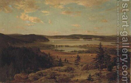 Roineen lahdelma the bay of Lake Roine, Finland by Hjalmar (Magnus) Munsterhjelm - Reproduction Oil Painting