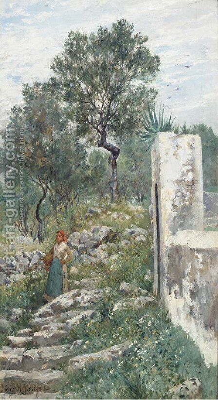 A steep descent from the olive groves by Holger Hvitfeldt Jerichau - Reproduction Oil Painting