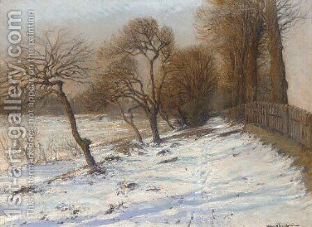 Winter woodland by Holger Hvitfeldt Jerichau - Reproduction Oil Painting