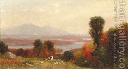 Cows and Sheep Grazing in an Autumn River Landscape by Homer Dodge Martin - Reproduction Oil Painting
