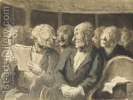 A man holding a theatre programme looking back at an eavesdropper in a theatre stall by Honoré Daumier - Reproduction Oil Painting