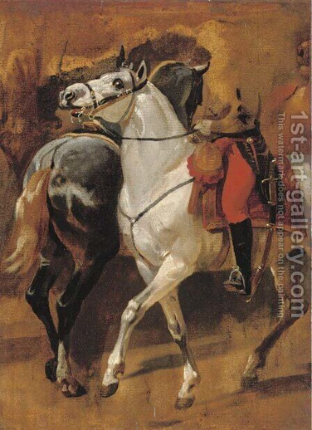 Study for the equestrian portrait of General Dumouriez at the Battle of Jemappes by Horace Vernet - Reproduction Oil Painting